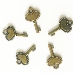 10 breloques clé bronze 17x11mm