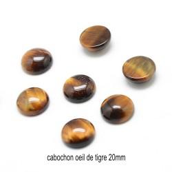1 cabochon pierre naturelle oeil de tigre rond 20mm