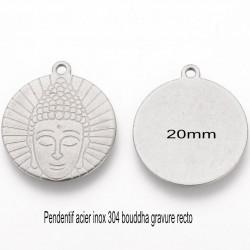 4 pendentifs rond 20mm acier inoxydable 304 bouddha gravure