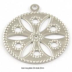 10 breloques estampe  acier rond motif étoilé 24x19mm