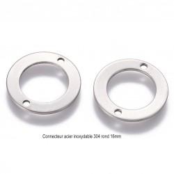 10 connecteurs ronds acier inoxydable 304 diametre 16mm