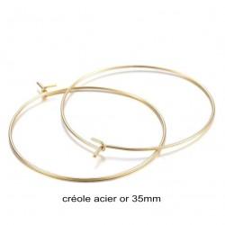 6 créoles acier inoxydable or 35mm