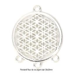 6 pendentifs connecteur  argenté fleur de vie 38x29mm