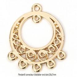 4 mini chandeliers connecteur rond metal doré 26x21mm