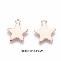 10 breloques acier or rose étoile 15x13mm