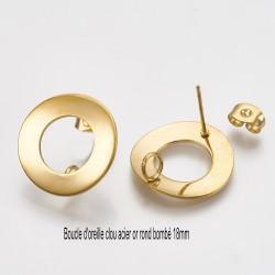 1 paire boucle d'oreille clou acier or ronde 18mm