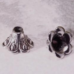 10 calottes chapeau fleur metal argenté 9x5mm