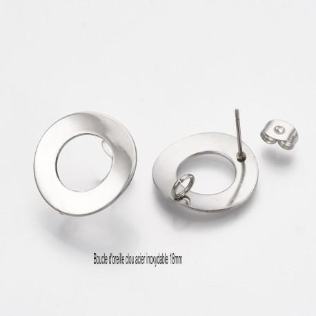 2 paires boucles d'oreille clou acier inoxydable ronde  argent 18mm