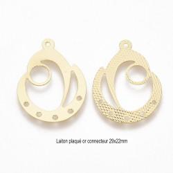 2 pendentifs connecteur laiton plaqué or larme 29x22mm