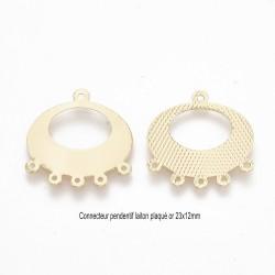 2 pendentifs connecteur laiton plaqué or ovale 23x12mm