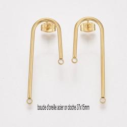 4 boucles d'oreilles clou acier or cloche 37x15mm