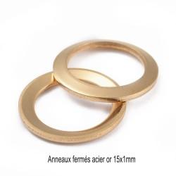 10 anneaux  ronds connecteur acier or 15mm