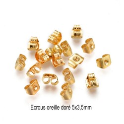 50 fermoirs papillons dos d'oreille or 5x3,5mm