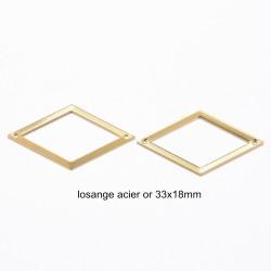 4 pendentifs losange acier or 33x18mm