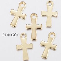 8 breloques croix acier or 12x7mm