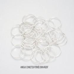 10 anneaux rond connecteur laiton argenté 35mm