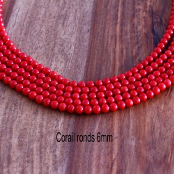 20 perles de  corail ronds lisse véritable 6mm