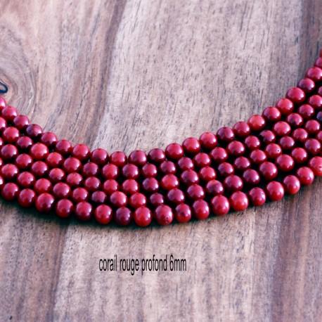 20 perles de corail véritable ronds rouge profond 6mm