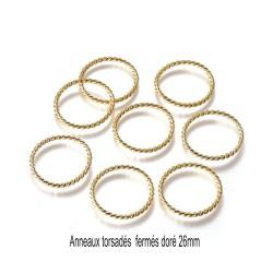 10 anneaux connecteurs ronds torsadés soudés 26mm doré