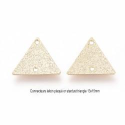 6 connecteurs triangle laiton plaqué or stardust 13x15mm