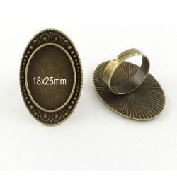 2 supports bague réglable bronze 18x25mm