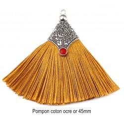 1 Pompon coton ocre or embout argenté 45mm