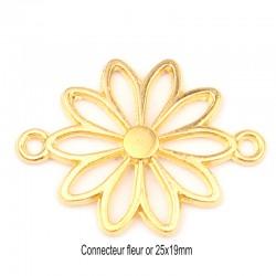 10 connecteurs fleur or 25x19mm