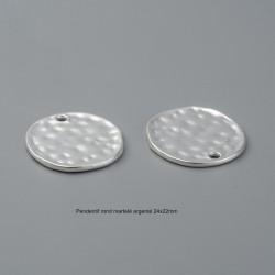 6 pendentifs rond martelé argenté 24x22mm