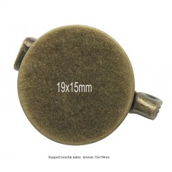 8 supports broche ronde laiton bronze 19x15mm