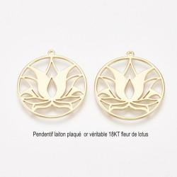 1 pendentif rond fleur de lotus laiton plaqué or 18KT 27x25mm