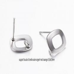4 boucles d'oreille acier clou losange 9.5x9.5mm