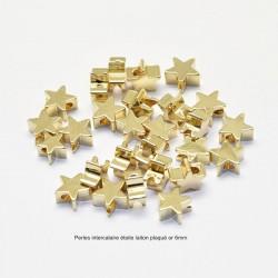 10 perles intercalaire laiton plaqué or 18KT  étoile 6mm