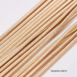 """1mètre chaine laiton """"maille serpent """" soudée or clair  1mm"""