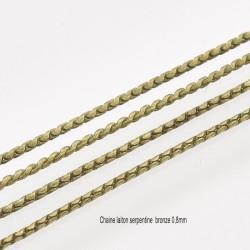 1M chaine laiton serpentine bronze 0,8mm