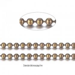 1M chaine bille aliton bronze palqué 1mm