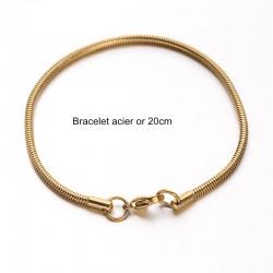 1 Bracelet acier inoxydable or maille serpent 20cm