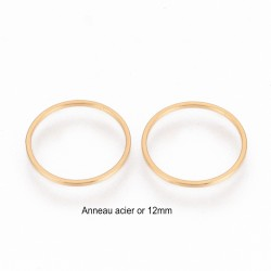 6 anneaux acier inoxydable rond or 12mm