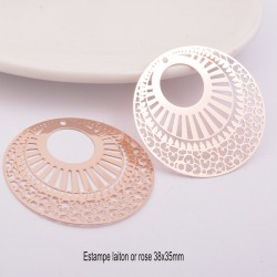2 estampes filigrane laiton rose gold 38mm