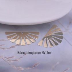 4 Estampes laiton plaqué or rayon de soleil 35X18mm
