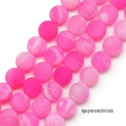 20 perles d'agates naturelles teintées givrée rose fuschia 8mm