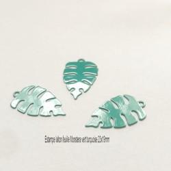 4 estampes laiton feuille Monstera vert turquoise 23x19mm