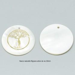 2 breloques pendentifs nacre blanc gravure arbre de  vie or 31mm
