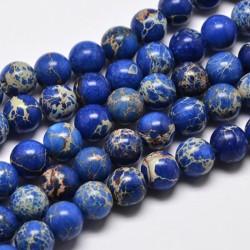10 Perles régalite magnésite bleu nuit marbré beige 8mm