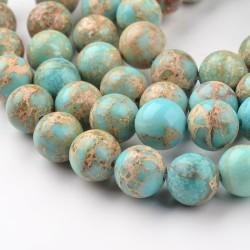 10 perles gemmes régalite turquoise claire veiné beige 8mm