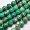 10 perles gemmes régalite verte veinée beige 8mm