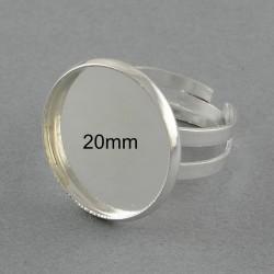 2 supports bague laiton réglable argent vif 20mm