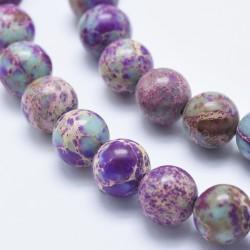20 perles régalite magnésite turquoise /violet marbrée 6mm