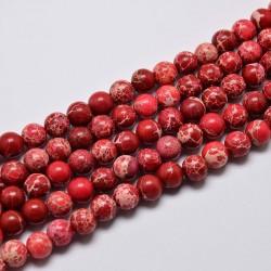 20 perles pierre régalite magnésite rouge veiné beige 6mm