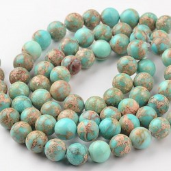 20 perles régalite magnésite turquoise / beige marbrée 6mm