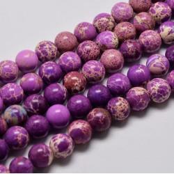 20 perles régalite prune violet marbrée ronde diamètre 6mm